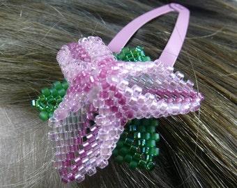 Beaded Flower Hairclip, Pink Flower, Beaded Hair Clip, Hair Accessory, Trillium Flower Hair Clip, Trefoil Flower Girl Snap Clip