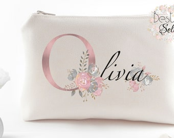 Bridal shower gift Personalized bridesmaid gift idea Makeup organizer Bridesmaid proposal gift ideas Custom bridesmaid makeup bag gifts
