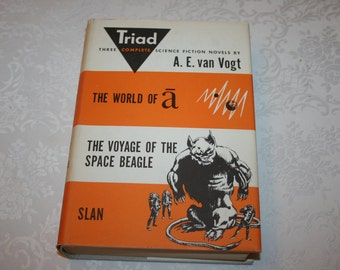 "Vintage Hard Cover Dust Jacket Book Triad 3 Complete Science Fiction Novels by A. E. van Vogt "" The World of a "" "" Slan "" "" The Voyage..."