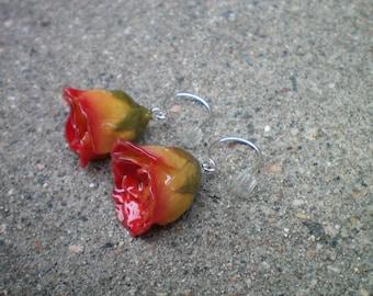 ECHTE gelbe und rote ROSE BUD Sterling Silber baumeln Französisch Draht Ohrringe