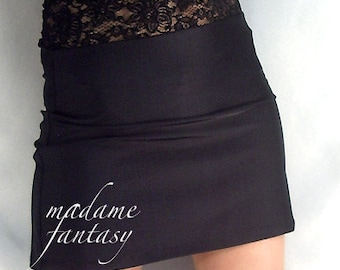 High waisted black shiny spandex mini skirt with lace top