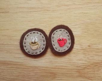 Tea or Coffee Mug Badge (Patch, Pin, Brooch, or Magnet)