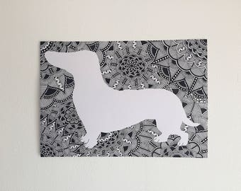 Zentangle Dachshund Print
