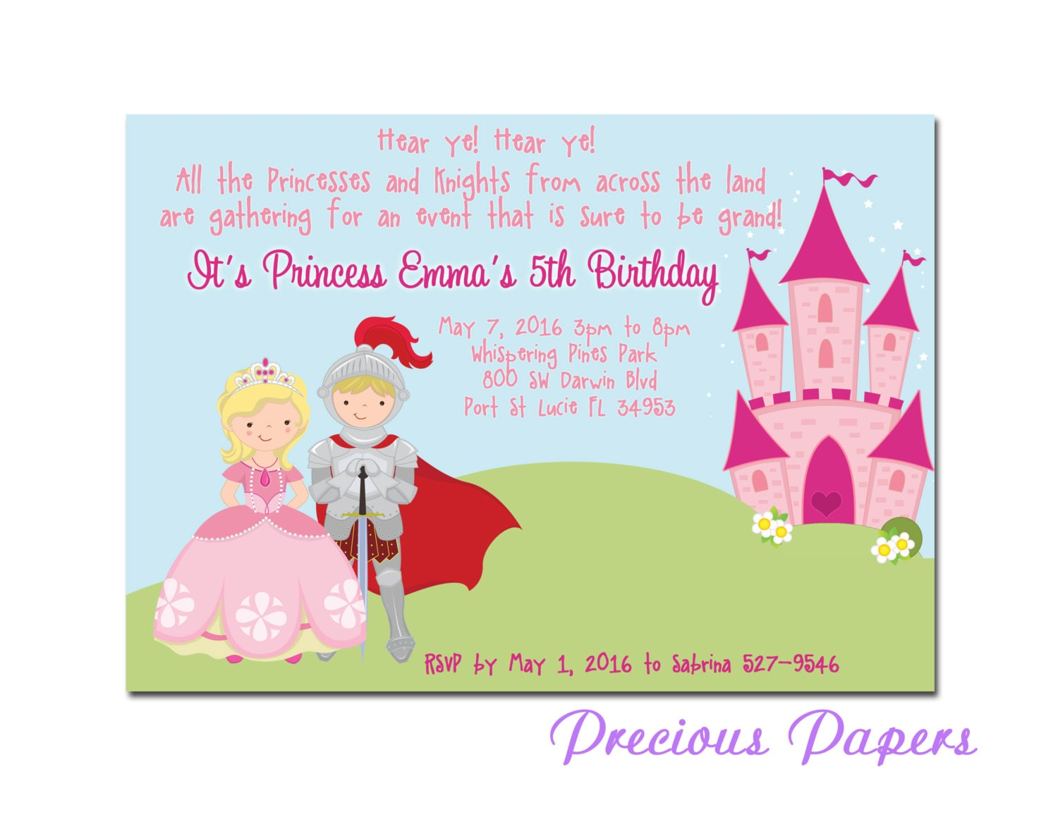 Prince and Princess Party Invitations Princess Birthday Party