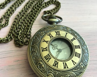 Antique Bronze ornate pocket watch collectible