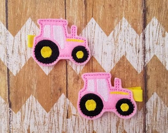 Tractor hair clips, pink tractor clippies, tractor clippies, toddler hair clips, girls hair clips, pigtail bows, farm girl hair clips, clips