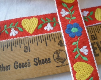 """19mm Hearts & Flowers Jacquard Embroidered Ribbon Red Yellow Blue Green White 3/4"""" cotton blend woven edge costume By the Yard edging insert"""