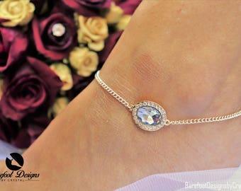 Rose Gold Blue Diamond Rhinestone Gem Ankle Bracelet, Ankle Bracelet, Rose Gold Chain Ankle Bracelet, Blue Gem Ankle Bracelet