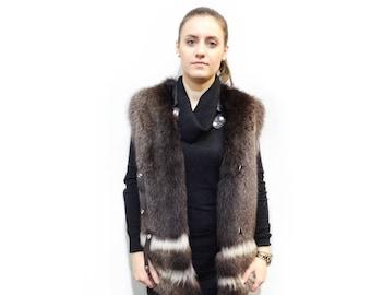 Fur Vest,Woman Fur Vest,Raccoon Vest F406
