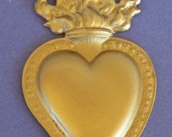 Large Tin/Silver GOLDEN Flamed Sacred Heart Milagro Ex Voto