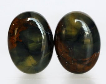 Beautiful Natural Oval Pietersite Pair Cabochon From Namibia Africa, Earring Pair, Gemstone Jewelry, Crystal Cabochon, African Stone, 738