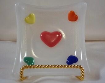 Sale-Hearts Trinket Dish, Fused Glass Dish(TD97)