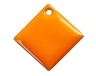 Set of 2 Orange Argyle copper enameled 24 mm x 24 mm sequins