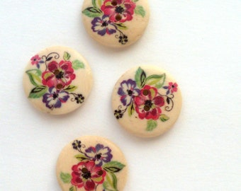 Wood Flower Buttons, Painted Wood Buttons, Round Wooden Buttons, Painted Buttons - set of 4