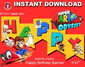 SUPER MARIO ODYSSEY inspired Happy Birthday banner, ready to print, instant download
