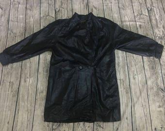 Vintage 1980s DION Genuine Leather Jacket Black Trench Coat Size MEDIUM