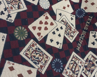 Texas Hold 'Em, Lucky Cards, Poker Cards, Fabric, Upholstery, Western Fabric, Upholstery Fabric, Play Your Cards Right