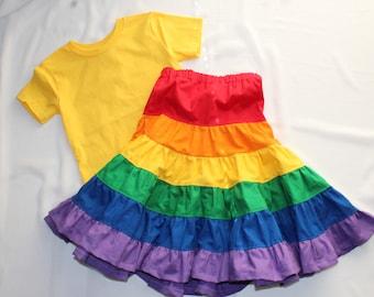 Toddler Rainbow Skirt - Girls Patchwork Skirt - Ruffle Rainbow Skirt - Long Rainbow Skirt - Girls Spring Outfit - Boho Skirt