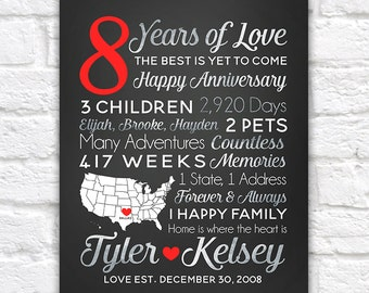 8 Year Anniversary Gift ANY year of Dating or Wedding Anniversary, Countdown, Time Together, Vacations, Travel, Anniversaries | WF12