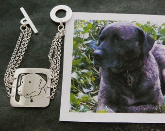 Sterling Silver Dog Art Bracelet - Your Pet as a Pendant - personalized memorial Jewelry - Solid Back, Head Shot