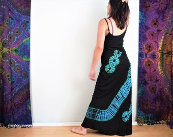 Tie Dye Maxi Dress Black and Electric Blue Boho Summer Hippy Festival Dress Bohemian Hippie Holiday Dress