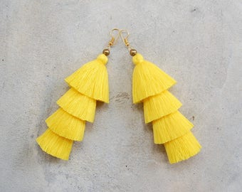 Four Tired Light Yellow Tassel Earrings