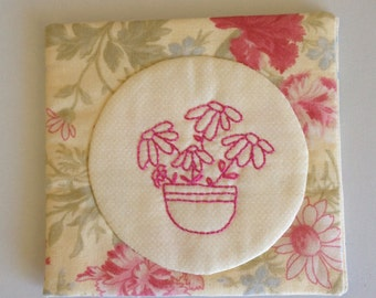Hand Sewn Embroidered Stitchery Pink Cotton Felt Floral Flowers Needle Case Minder Book Holder
