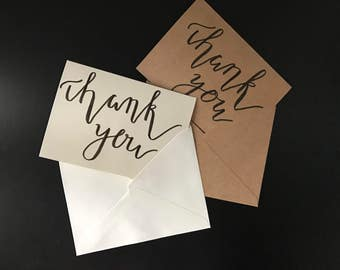 Hand Lettered Thank You Cards Pack of 5  Calligraphy Thank You Cards