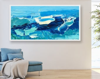 Large Ocean Painting Modern Painting Abstract Art Sea Painting Wave Painting Anniversary Gifts Beach Home Decor Wall Art