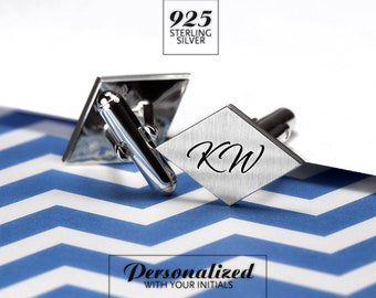 Initials Cufflinks - Wedding cufflinks - Personalized Cufflinks - Monogram Cufflinks engraved