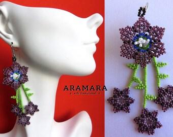 Huichol Earrings, Mexican earrings, Mexican Jewelry, Mexican folk art, Native american earrings, Flower Earrings, Beaded Flower, AF-0198