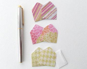 Teeny Weeny Notelets, 6 Mini Envelopes, Folded Notes, Patterned, Pink, Green, Floral, Striped, Pack of 6, Miniature Notes, Love Letters