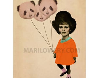 Weird Wall Decor, 8.5 x 11 Inch Print, Surreal Art, Mixed Media Collage, Retro Art Print, Panda Balloons, Neon Orange, frighten