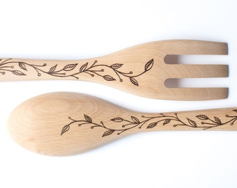 Custom Wood Burned Fork & Spoon Set