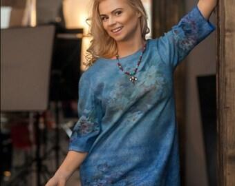 Light Blue Merino Wool Felted stylish long tunic blouse. Turquise light blue wool dress tunic