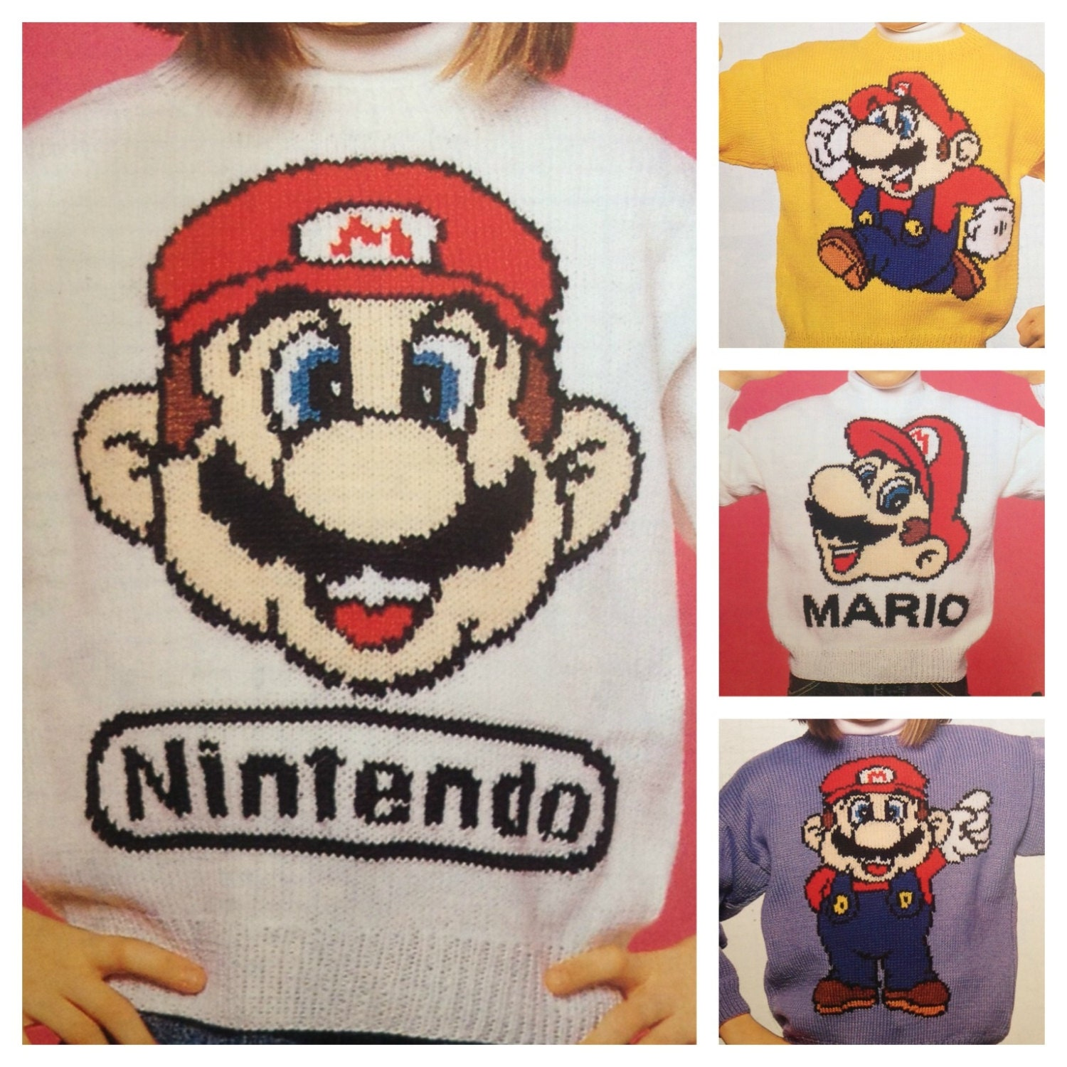 Super Mario knitting pattern sweaters for children and adults dk or ...