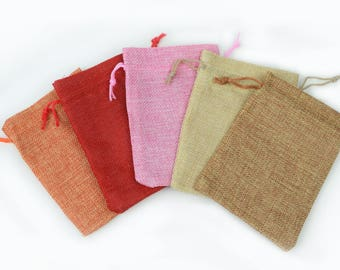 10 Drawstring Burlap Bags  5x3.5 in. Packing Pouches Wedding Bracelet Pouch