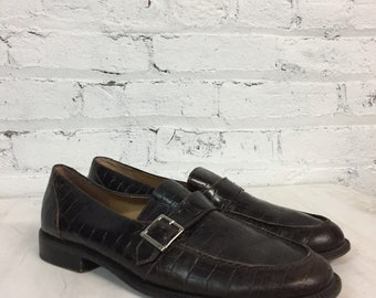 vintage Ralph Lauren brown leather crocodile embossed buckle loafers / textured alligator leather moc toe loafers