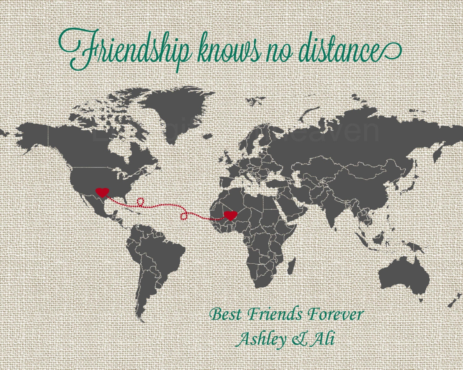 Quotes About Friendship And Distance Friendship Knows No Distance Map Print World Map Bridesmaid