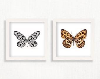 Butterfly Art Print Set of 2 Butterflies Wall Art Printable Insect Print Butterflies Poster Nature Art Girl's Nursery Decor Digital Download