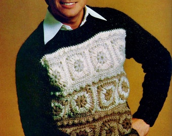 Granny Square Sweater Vintage Crochet Pattern Instant Download