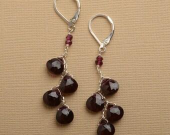 Garnet Earrings, January Birthstone Earrings, Long Dangle Gemstone Earrings, Dark Red Gemstone Earrings