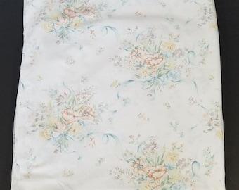Vintage Pequot White Blue Orange Floral Ribbon Double Flat Sheet Fabric Sewing