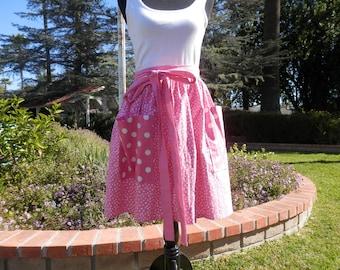 50's style apron, Retro apron, Women's apron, Apron with Pockets--- Pink and White polka- dot apron