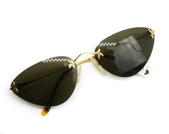 Womens vintage sunglasses Drop Shape rimless COLUMBUS mod. M281 Gold & Havana, Superb and Hype sunglasses // NOS sunnies