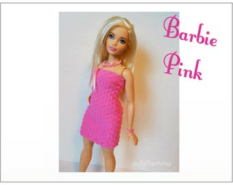 CURVY BARBIE Fashionistas Doll Clothes - Pink Dress and Jewelry Set  - Handmade Fashion by dolls4emma