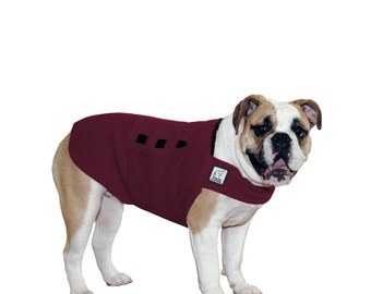 ENGLISH BULLDOG Tummy Warmer, Fleece Dog Coat, Dog Sweater, Dog Clothing, Fleece Dog Vest, Large Dog Sweater, Large Dog Coat, Maroon