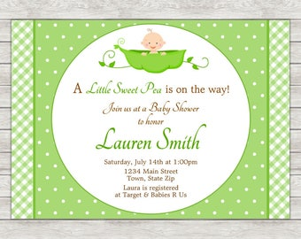 Sweet Pea Baby Shower Invitation, Neutral Baby Shower Invitation - Digital File (Printing Services Available)