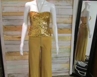 THIS*** Biba highly collectable Iconic 1970's disoc-tastic originalboob tube, tube top  gold sequin 2 piece.