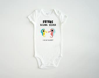 Scuba Diving Baby Onesie ~ Baby Romper ~ Bodysuit ~ Personalized Baby Onesie ~ Customized Onesie ~ Future Scuba Diver Like My Mummy